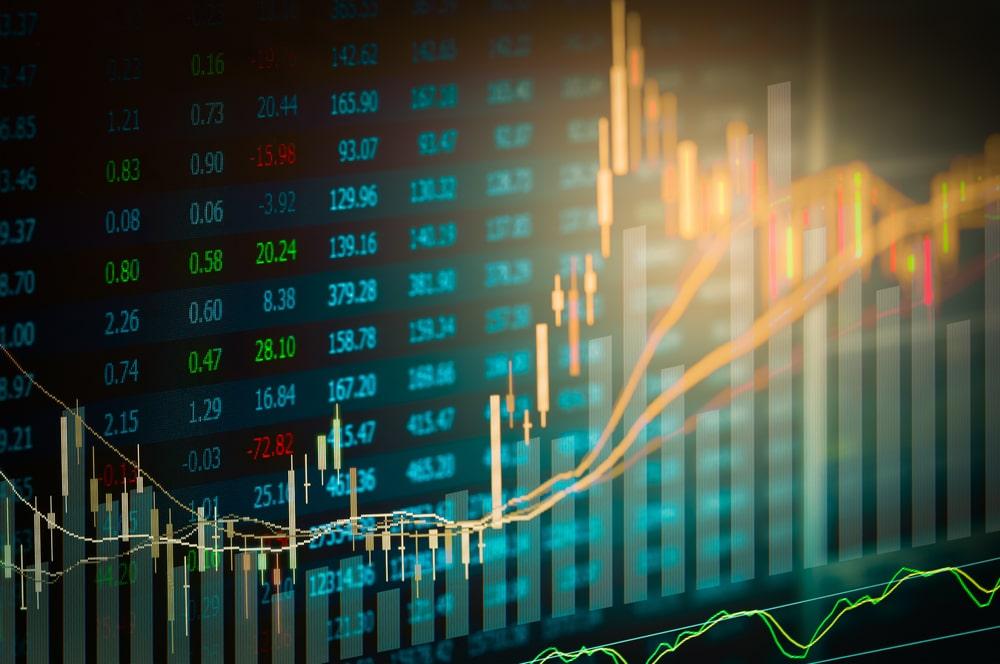 O que é IPO: gráfico simulando um período do mercado de ações
