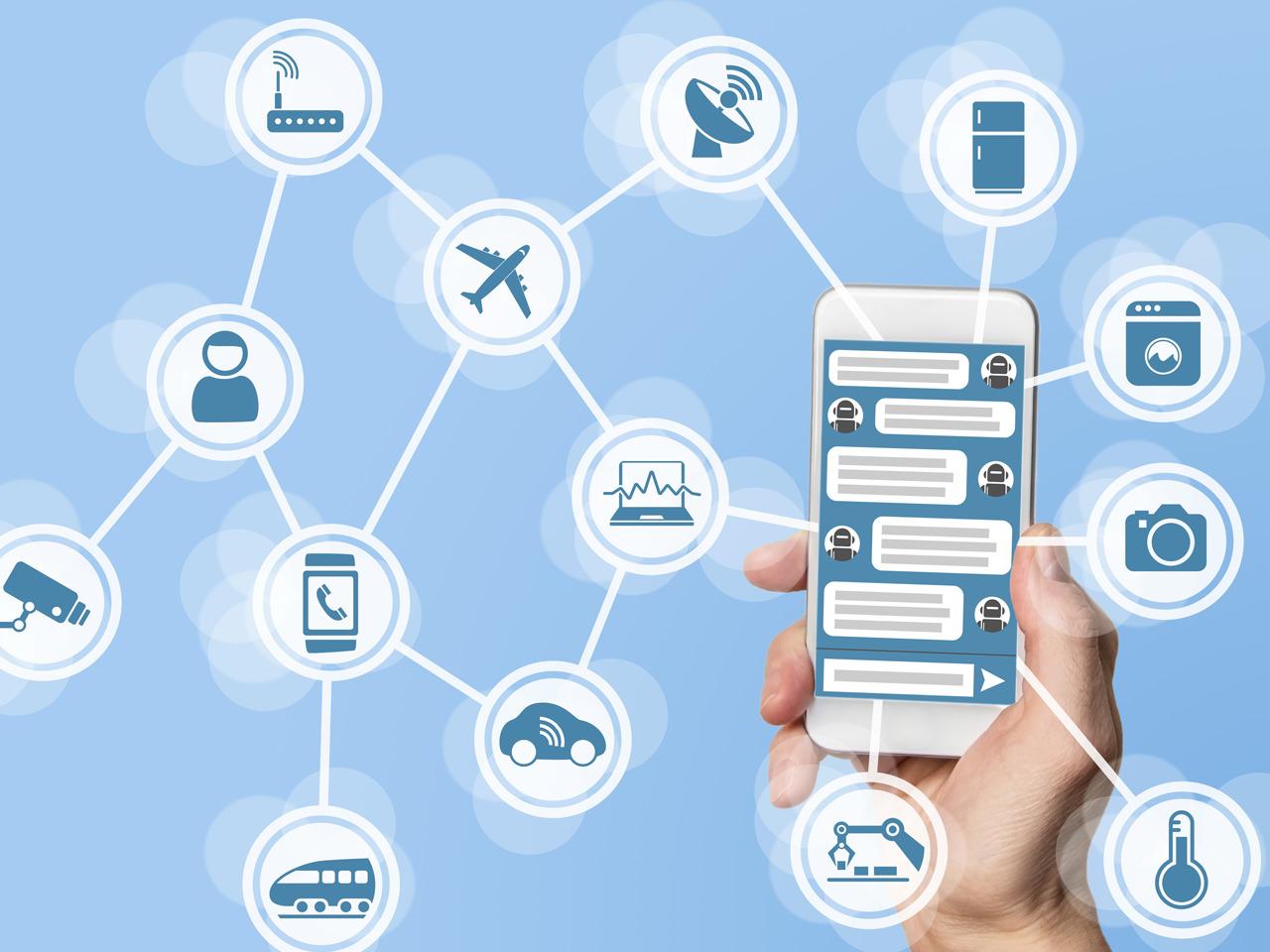 Ilustração de foto com celular e ícones de serviços simulando uma conexão