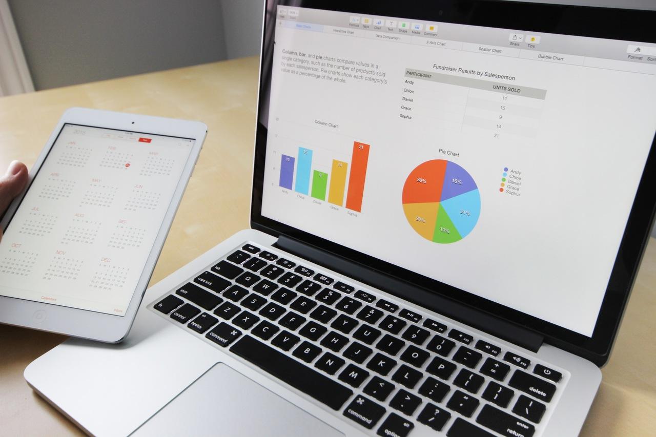 Renda Variável - Mão segura um tablet na frente de um notebook com gráficos