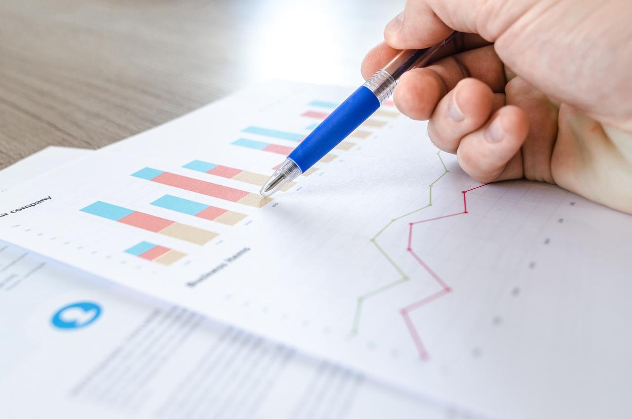 Renda Variável - mão segura caneta azul apontando para gráfico em uma página