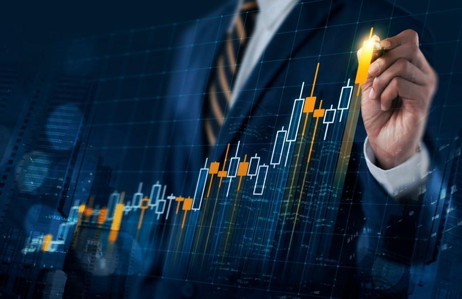 tipos de investimentos: ilustração de homem seguindo um gráfico na parede