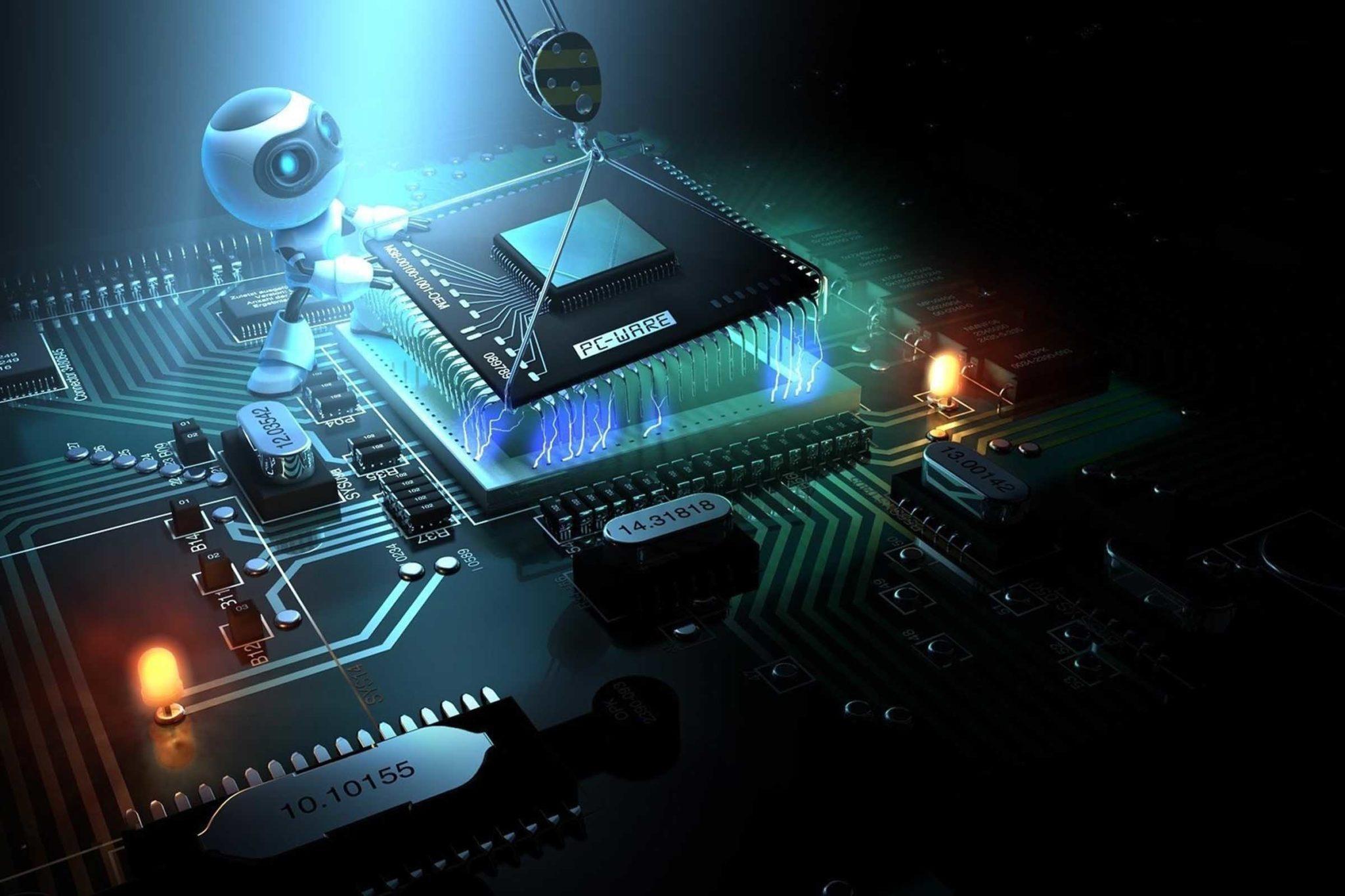 setor para investir indústria 4.0: reprodução de placa de computador com um robô